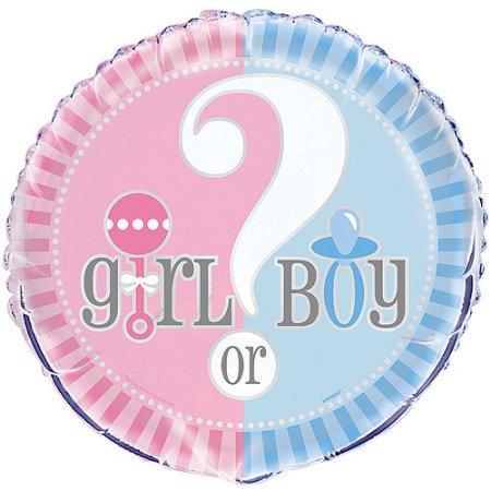 Gender Reveal Box With Balloons (Foil Gender Reveal Balloon, Blue & Pink, 18 in, 4-Pack (4)