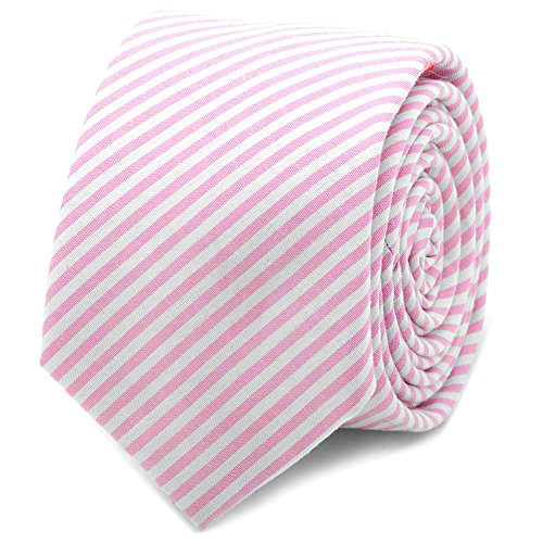 OB-PNKSRS-TS Pink Striped Cotton Skinny Tie