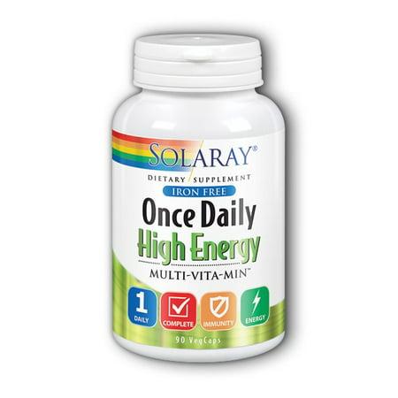 Solaray Once Daily High Energy Iron-Free Vitamin Capsules, 90