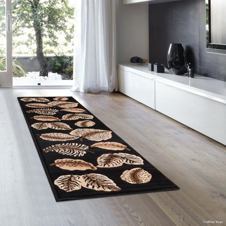 Allstar Black High Density Double Shot Drop-Stitch Carving Exotic Nature Themed Floral Leaf Prints. Woven Rug (2' 0
