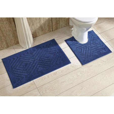 Trier 2 piece Contour and Regular Bathroom Rug Set in Cobalt (Model Home Bathroom)