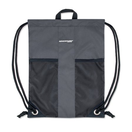 Adventure Trails Unisex Gray Front Mesh Pocket Drawstring Backpack 18