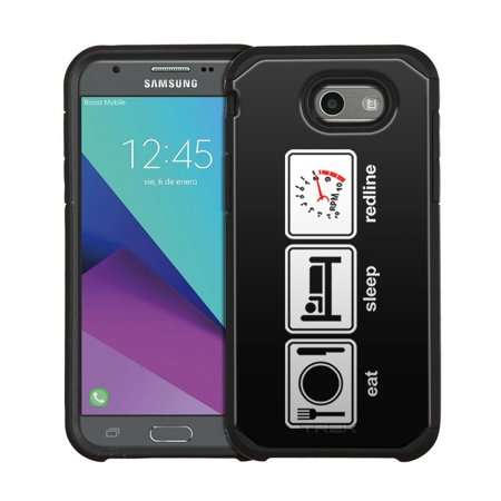best authentic 8b6f7 2ddb4 Samsung Galaxy Express Prime 2 Hybrid Slim Case - Eat Sleep Redline on  Black - Walmart.com