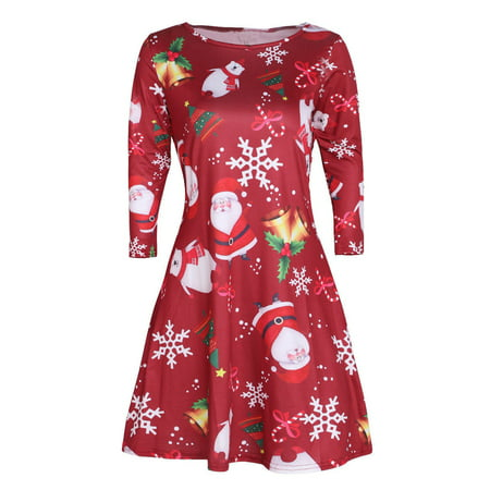 Plus Size Women Xmas Christmas Santa Snowman Reindeer Swing Skater Party Midi Dress Crewneck Flared A Line Short Dresses - Cute Santa Dresses