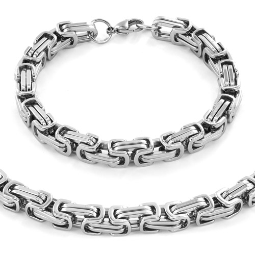 "Men's Stainless Steel Byzantine Chain Necklace (24"") and Bracelet (9"") Set"