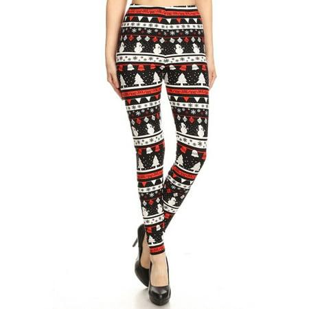 NioBe Clothing Womens Black Red Christmas Pattern Ultra Soft Leggings (Reg&Plus Size)