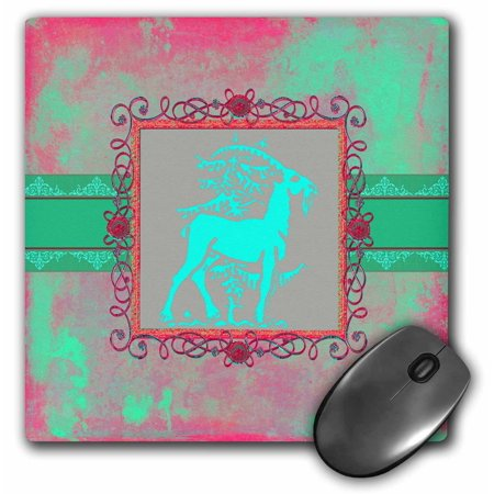 - 3dRose Majestic Goat Next to Tree, Pewter Look Frame, Bright Green and Pink, Mouse Pad, 8 by 8 inches