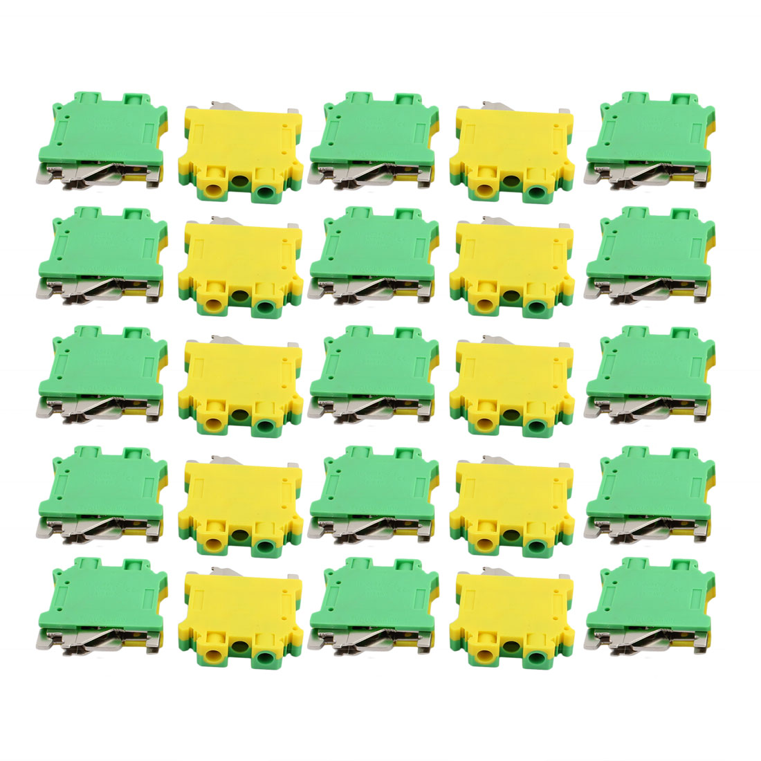 25Pcs 44x42x10mm 10mm2 24-6AWG Universal Grounding Terminal Block Yellow Green