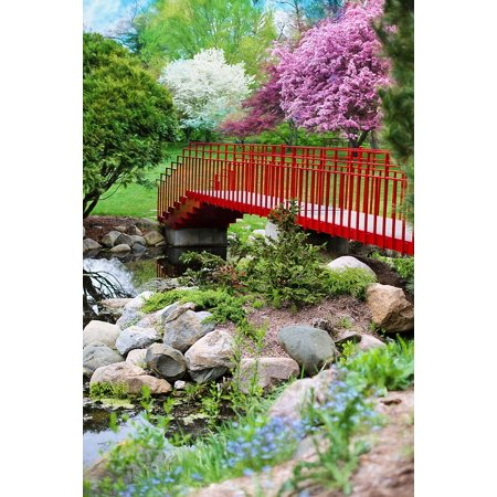 - LAMINATED POSTER Red Flowering Trees Pink Spring Pink Trees Bridge Poster 24x16 Adhesive Decal