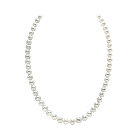 14K Gold 6.5-7.0mm AAA Quality Round White Freshwater Cultured Pearl Necklace for Women in 20 Matinee Length
