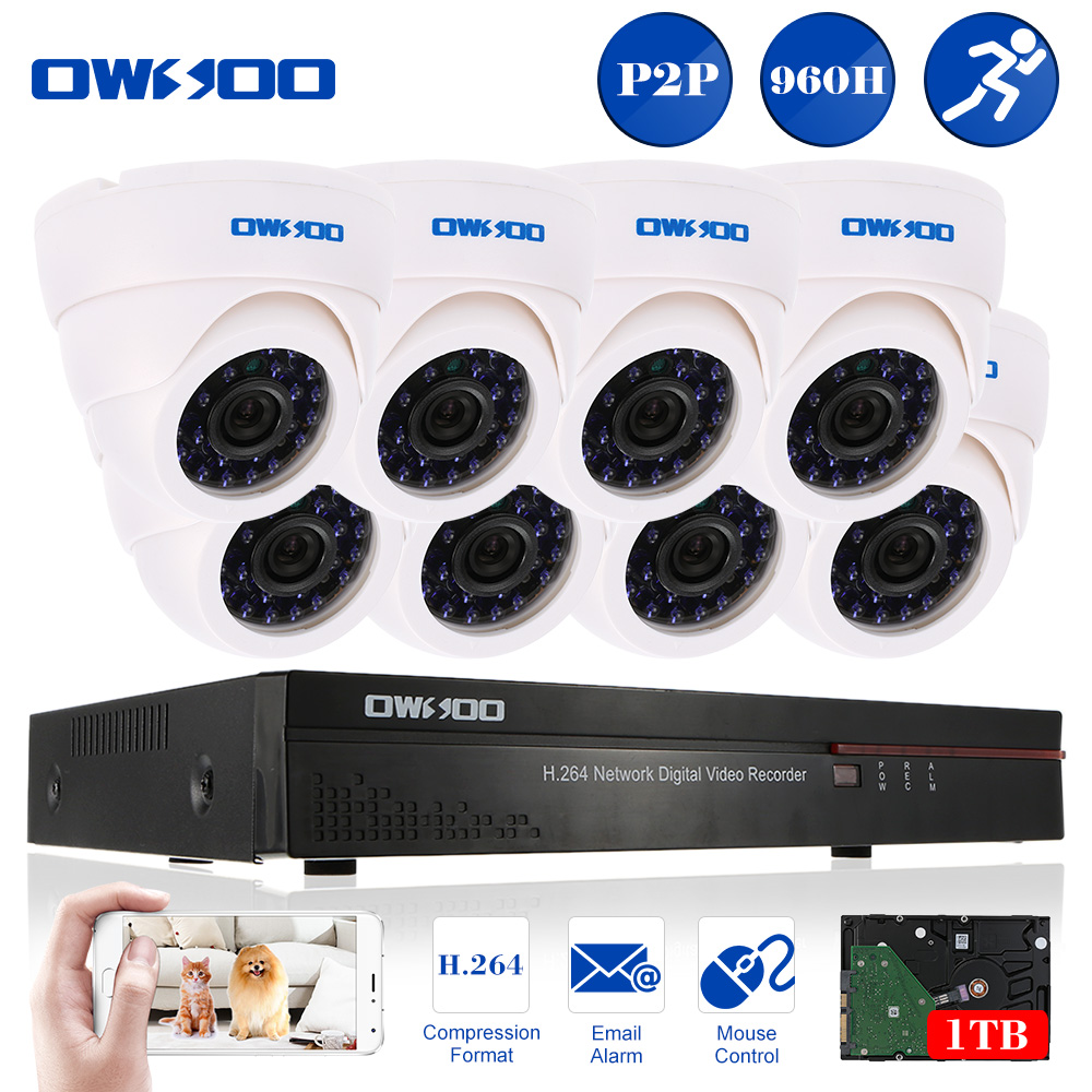 OWSOO 8-Channel Full 960H/D1 Surveillance DVR Security Sy...