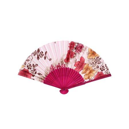 Unique Bargains Fuchsia Wood Frame Flower Pattern Wedding Party Fabric Folding Hand Fan