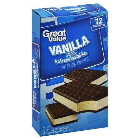 308c1120ed Great Value Vanilla Flavored Ice Cream Sandwiches
