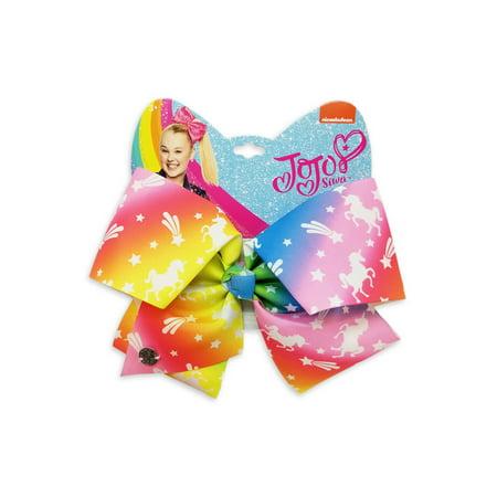 JoJo Siwa Large Cheer Hair Bow (Rainbow with Stars)