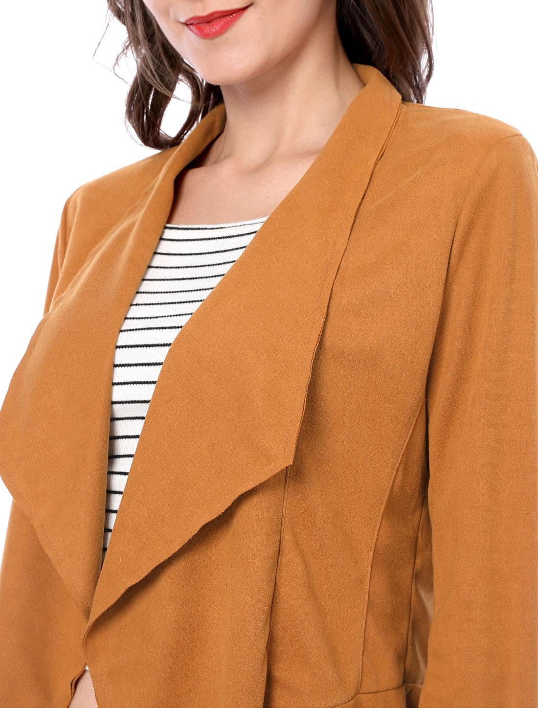 41d47c2efdc Unique Bargains Women s Zip Up Cuffs Draped Front Faux Suede Jacket Brown  (Size XL   18)