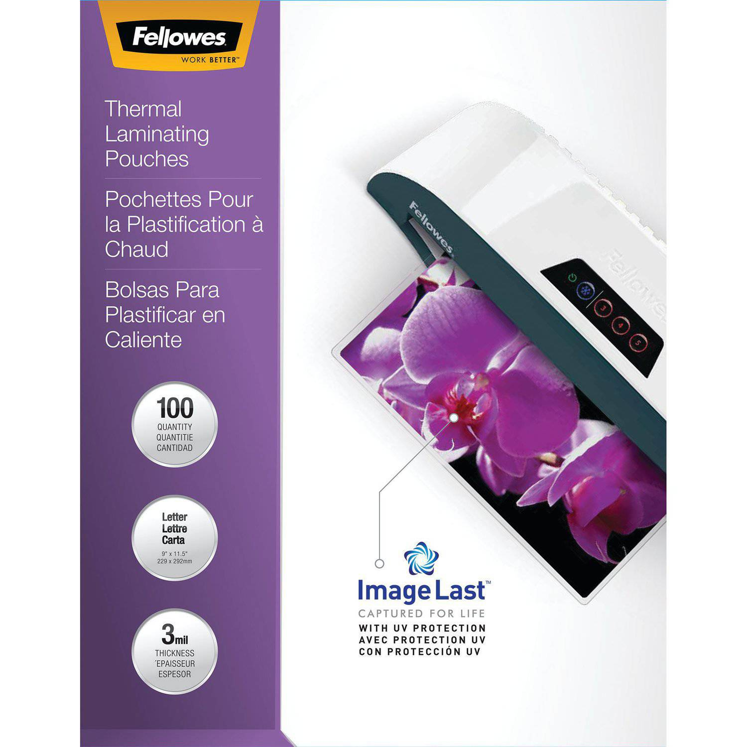 Fellowes Laminating Pouches - Letter, ImageLast, 3 mil, 100 pack