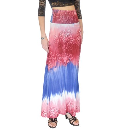 Vivian's Fashions Long Skirt - Full Length, Tie Die Print (Blue and Red)