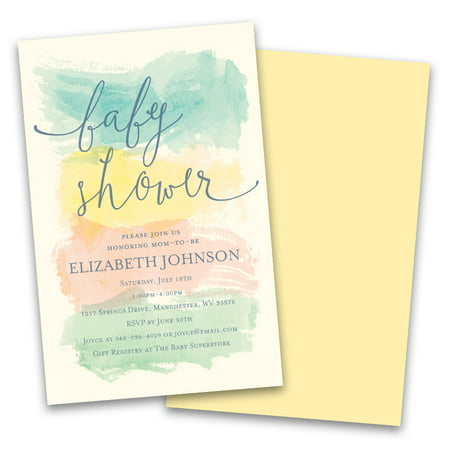 Personalized Pastel Watercolor Stripes Personalized Baby Shower Invitations