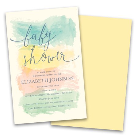 Personalized Pastel Watercolor Stripes Personalized Baby Shower Invitations - Little Mermaid Baby Shower Invitations