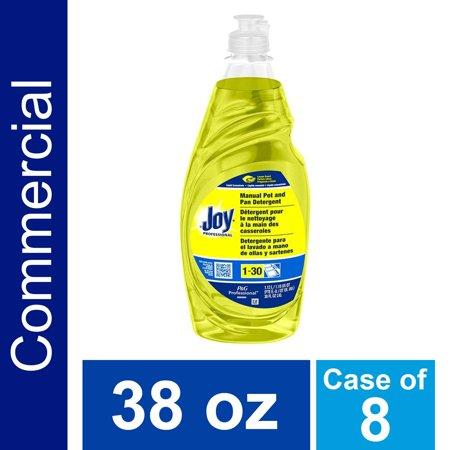 Dishwashing Detergent Degreaser from Joy Professional, Bulk Pot, Pan and Dish Liquid Soap for Commercial Restauran Kitchen Uses, Lemon Scent, 38 oz. (Case of 8) 38 Oz Bottle - CASE OF (Professional Bulbs)