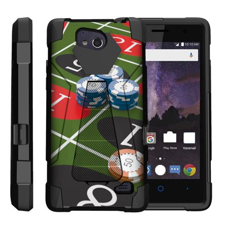TurtleArmor ® | For ZTE Tempo N9131 [Dynamic Shell] Dual Layer Hybrid Silicone Hard Shell Kickstand Case - Roulette Gamble