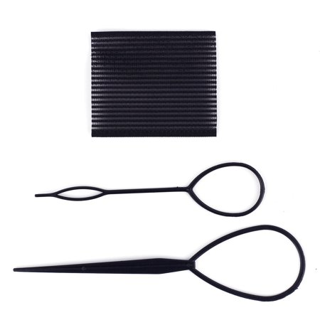 3 Pcs Set Ponytail Creator Plastic Loop Styling Tools Black Pony topsy Tail Clip Hair Braid Maker Styling Tool Salon - Loop Clip