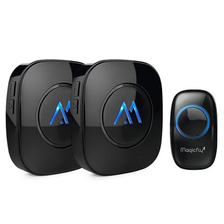 Magicfly Portable Wireless Doorbell Chime Kit 1000-feet Range 52 Melodies 1 Push Remote Button+2 Door Chime