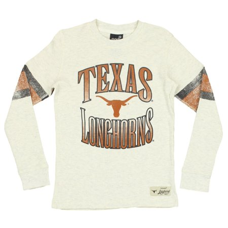 Texas Longhorns Ncaa College Tailgate - NCAA Youth Texas Longhorns Long Sleeve Henley Shirt, Cream