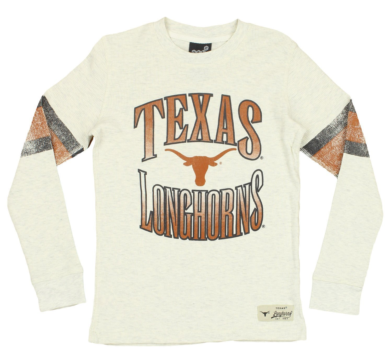 NCAA Youth Texas Longhorns Long Sleeve Henley Shirt, Cream