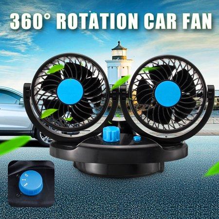 DC 12V 5W 360° Rotation Car Vehicle Cooling Air Double Fan Silent 2 Speed Adjustable Fan Car Accessories Low Noise Fan