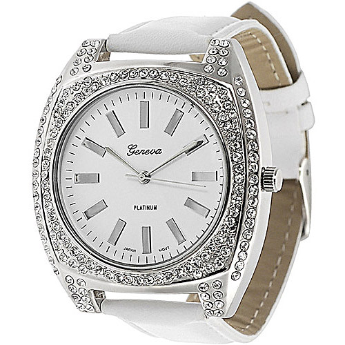 Geneva Platinum Ladies' Rhinestone Accented Toggle Watch