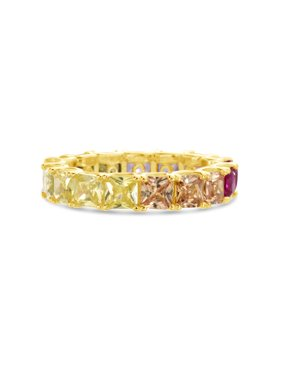 Multicolored Cubic Zirconia Princess Cut Pronged Band Ring in Yellow Gold Plated Sterling Silver