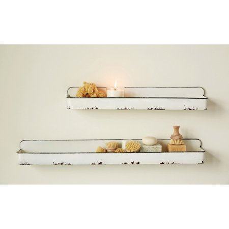 3R Studios Distressed White Metal Wall Shelves - Set of 2 ()