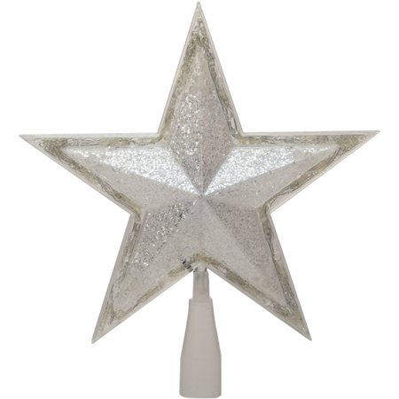 Holiday Time 10 75   Silver Star Tree Topper With 24 Led Cool White Lights