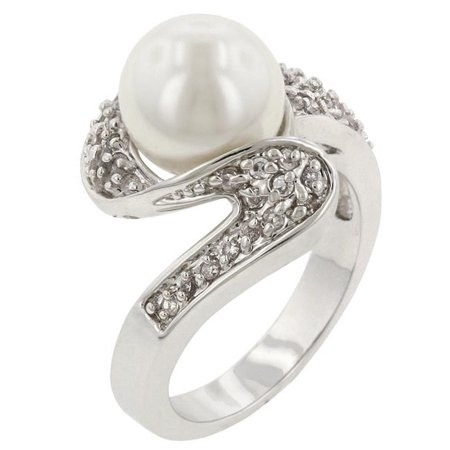 R08044R-C84-08 Genuine Rhodium Plated Fashion Ring with White Pearl and Round Cut Clear CZ in a Pave Setting in Silvertone- Size 8