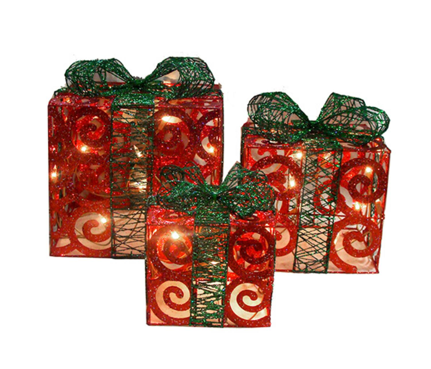 Set of 3 Sparkling Red Swirl Gift Boxes Lighted Christmas ...