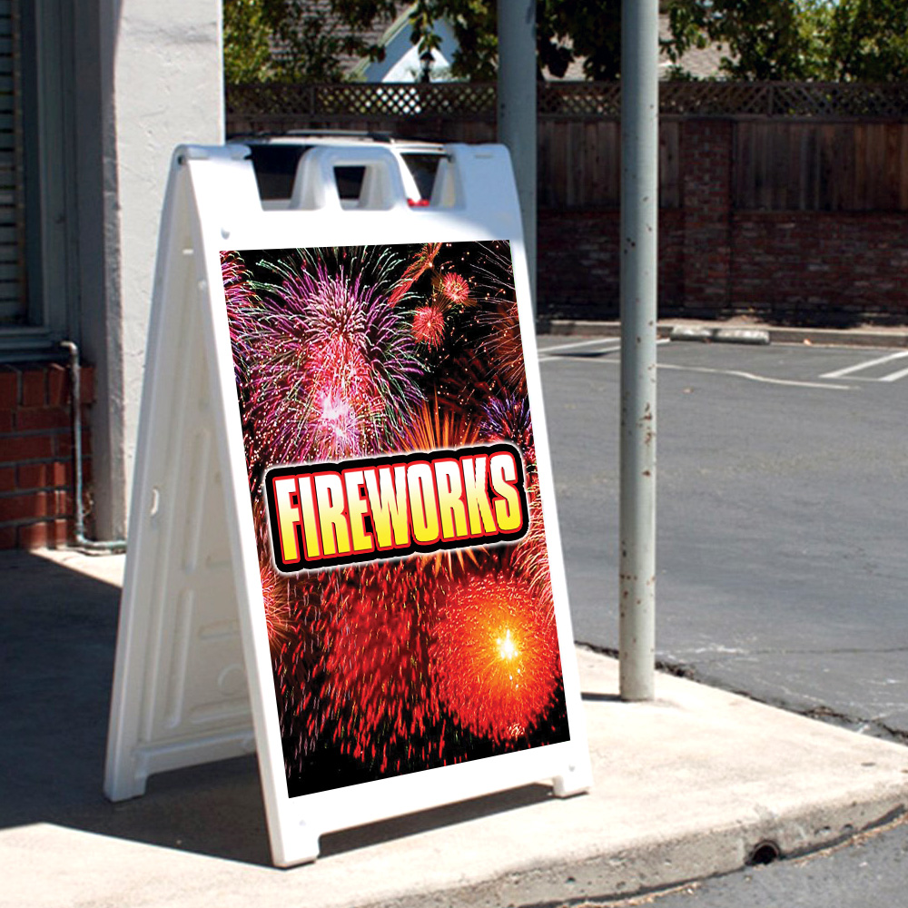 """24 X 36 Print Size Sparklers 24/""""x36 Heavy Duty SignMission A-Frame Sidewalk Sign with Graphics On Each Side"""