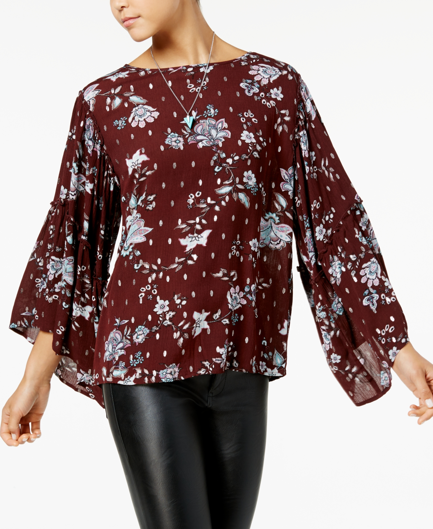 Gypsies and Moondust Juniors Ruffle-Sleeved Sweatshirt