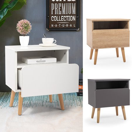 Jaxpety Nightstand Bedside Table Sofa End Table Bedroom Decor 1 Drawer Storage, White ()