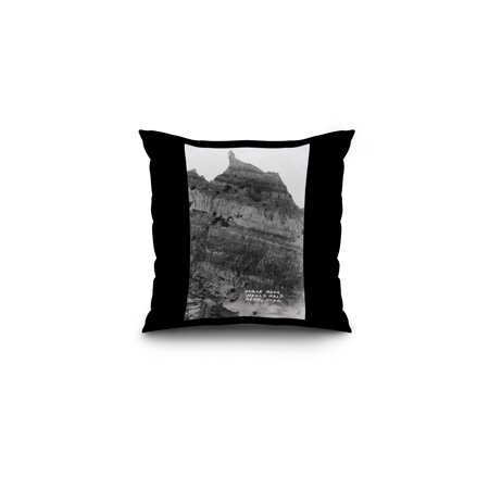 Wyoming - View of Hell's Half Acre; Eagle Rock Photograph (16x16 Spun Polyester Pillow, Black Border)