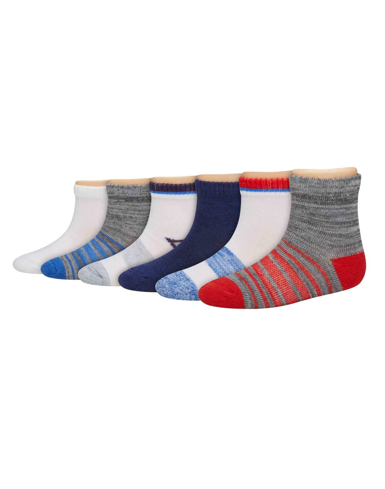Hanes Boys/' Toddler 6-Pack Ankle Socks Assorted 4T-5T