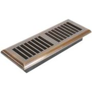 Louvered Floor Register, 3 In. X 10 In., Antique Brass