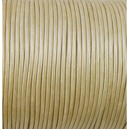 Imported India Leather Cord 2mm Round 5 Yards Metallic Cream 2