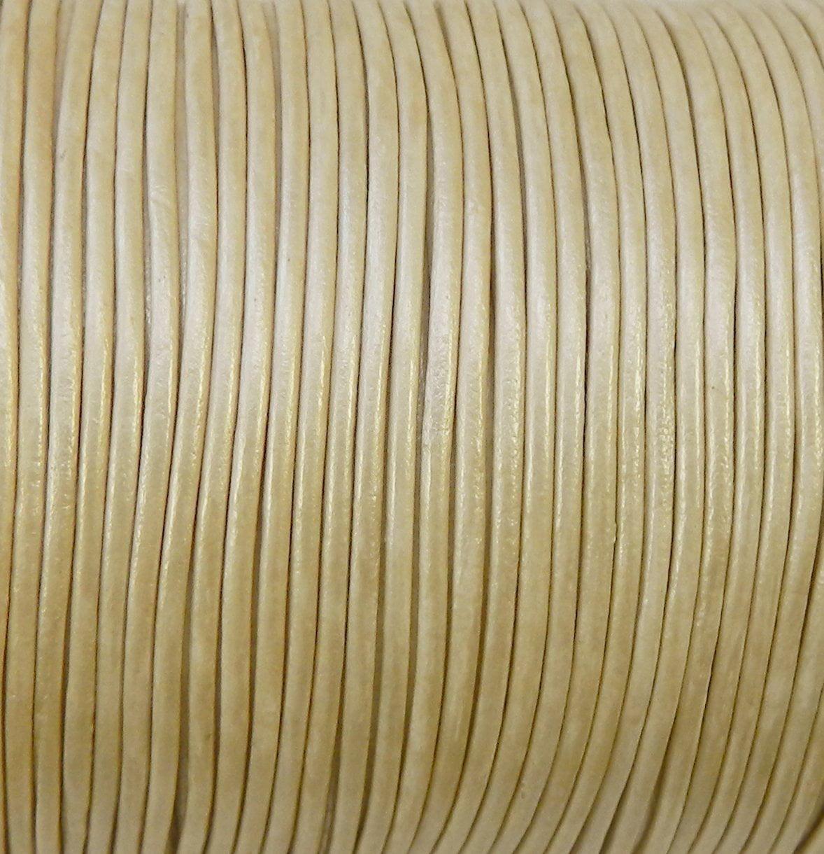 Imported India Leather Cord 2mm Round 5 Yards Metallic Cream 2