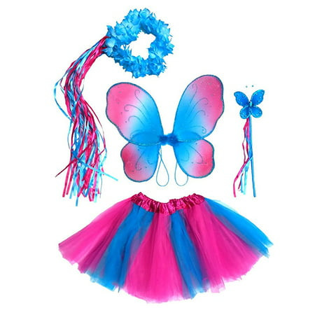 Girls Hot Pink and Blue Fairy Costume - Blue Tutu Costumes