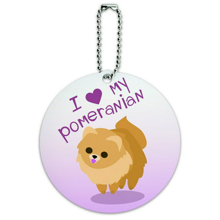 I Love Heart My Pomeranian Golden Pink Dog Pet Round ID Card Luggage Tag