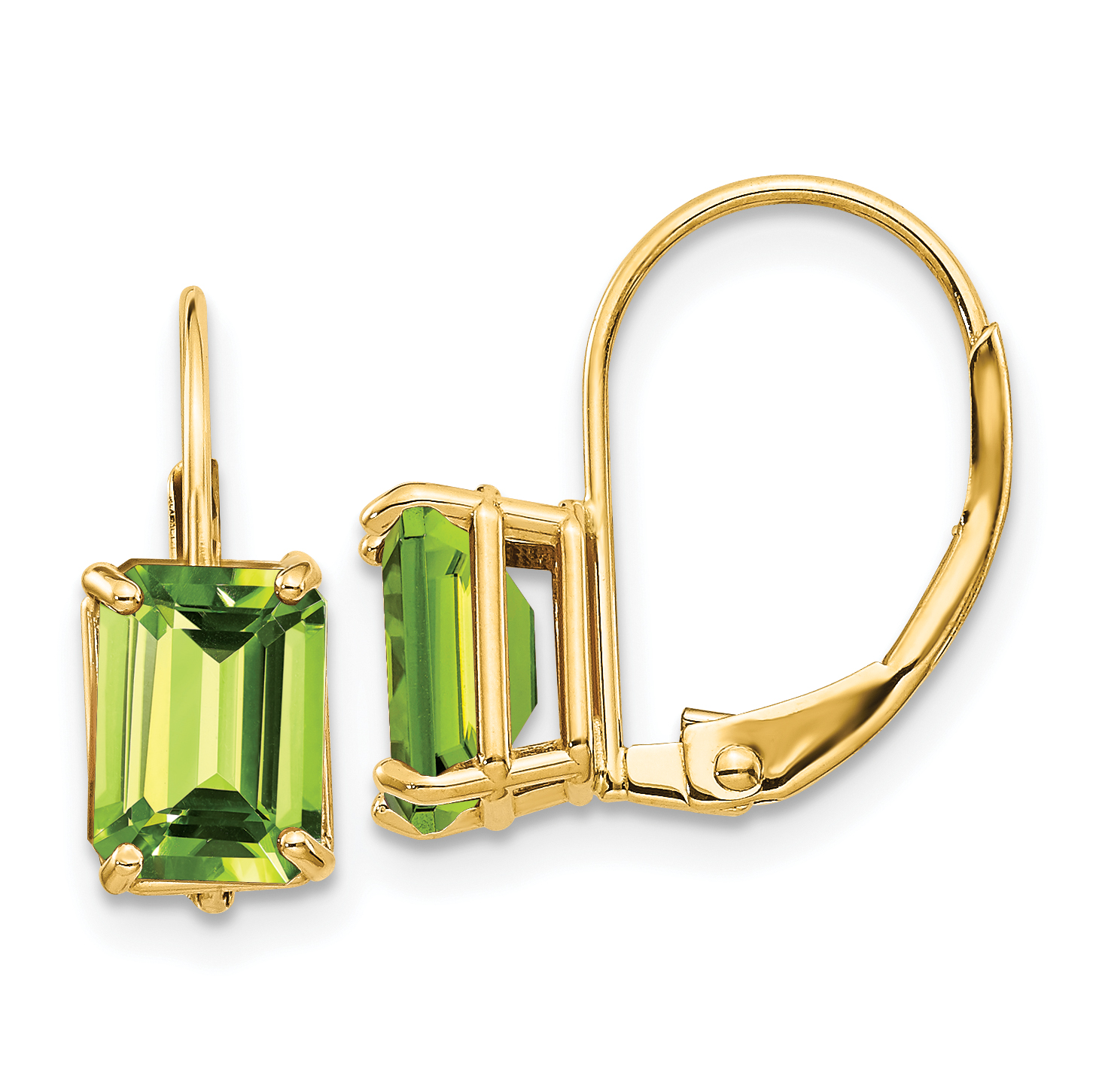14k Yellow Gold 7x5mm Green Peridot Leverback Earrings Lever Back Drop Dangle Gemstone Prong Fine Jewelry Gifts For Women For Her - image 2 of 2
