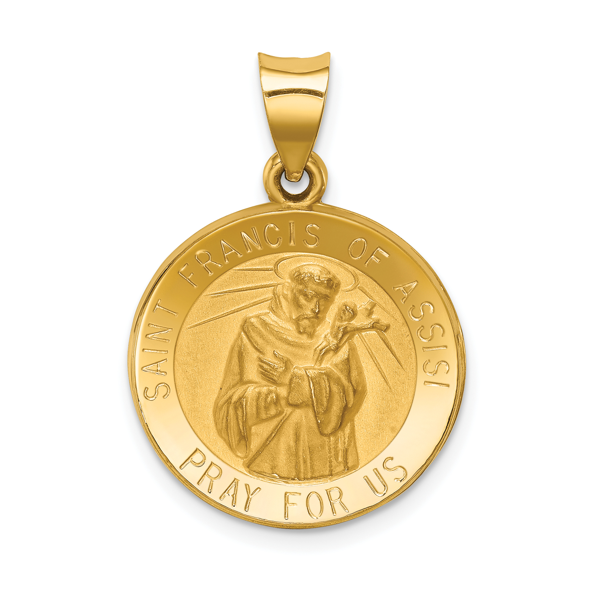 ICE CARATS 14kt Yellow Gold Saint Francis Of Assisi Medal Pendant Charm Necklace Religious Patron St Franci Fine Jewelry Ideal Gifts For Women Gift Set From Heart
