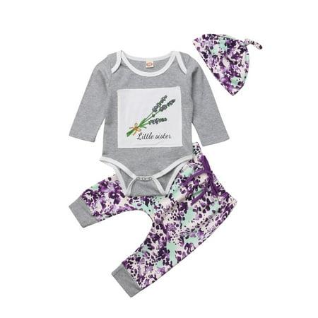Fashion Newborn Baby Girl Long Sleeve Floral Top Jumpsuit Lavender Print Pants Hat 3pcs (Lavender Jumpsuit)