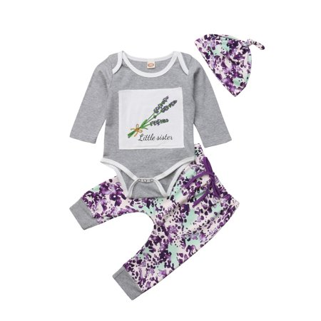 Fashion Newborn Baby Girl Long Sleeve Floral Top Jumpsuit Lavender Print Pants Hat 3pcs